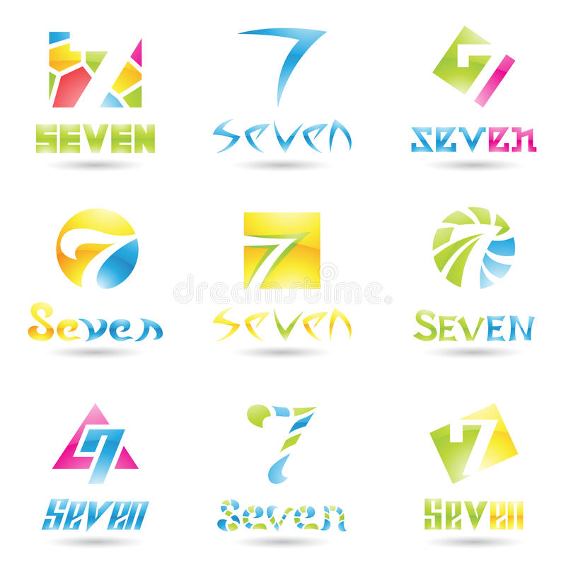 Download Icons for Number 7 stock vector. Image of digit, concept - 22052316