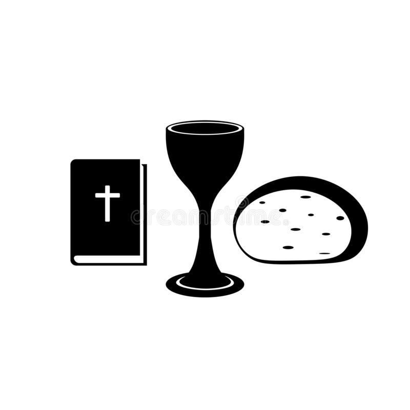 Free Icons Of The Christian Church Bible, Chalice, Cross And Bread. Signs Of The Body And Blood Of Jesus Christ. Symbols Of The Lord`s Royalty Free Stock Images - 192882109