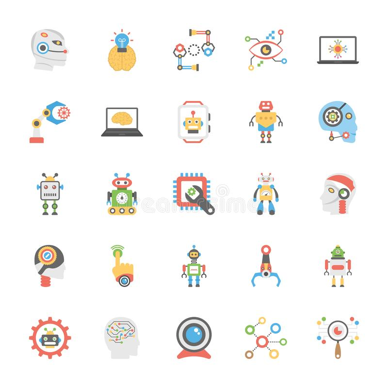 Icons Pack Of Artificial Intelligence In Flat Design vector illustration