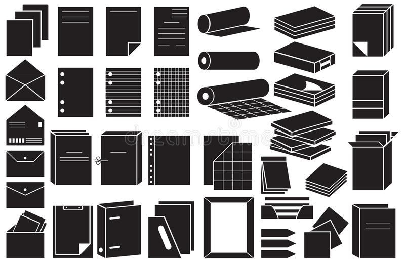 Icons paper and folders vector illustration