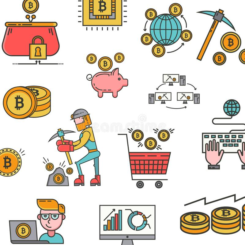 Icons pattern of blockchain concept, bitcoin, cryptocurrency mining. Vector pattern with mining of cryptocurrency, coins vector illustration