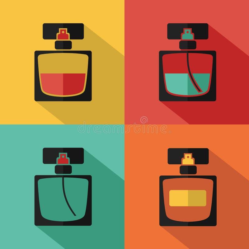 Icons of perfume bottle stock illustration