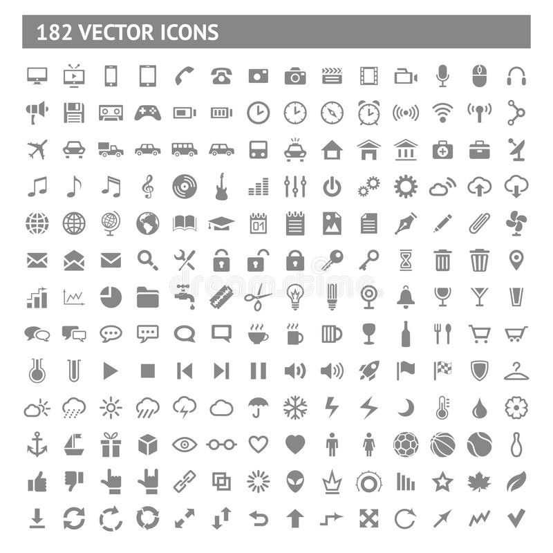 182 Icons And Pictograms Set Stock Photography