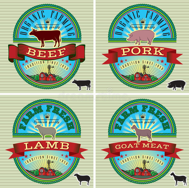 Icons pig, cow, sheep, goat vector illustration