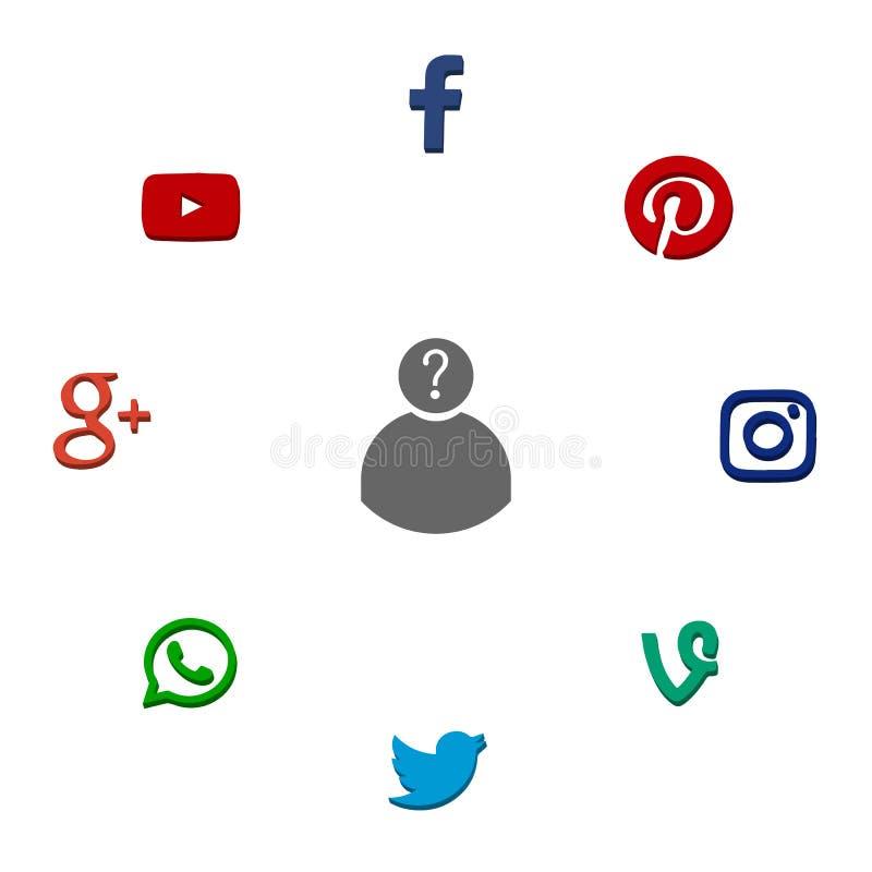 Icons of popular social network stock illustration