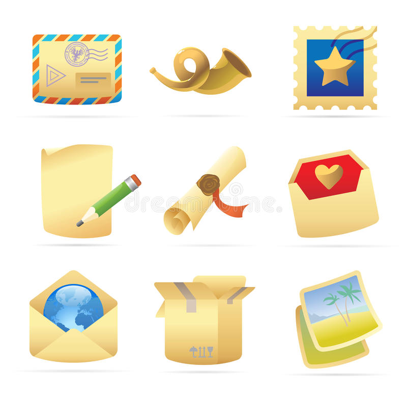 Icons for postal services. Vector illustration vector illustration