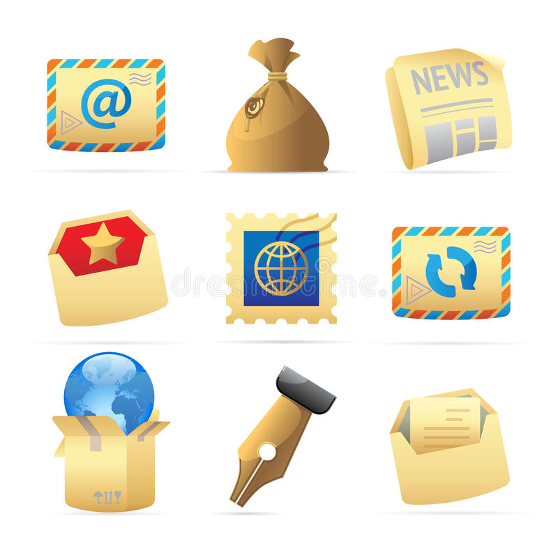 Icons for postal services. Vector illustration royalty free illustration
