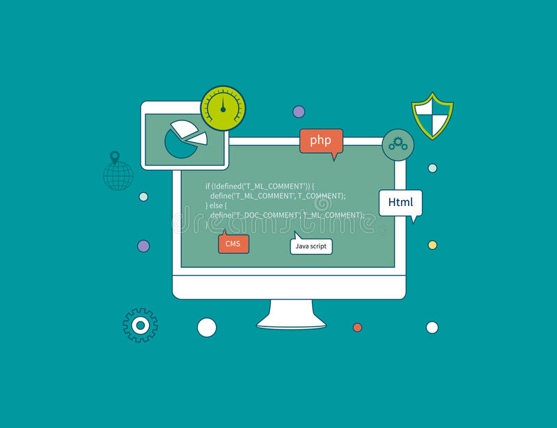 Icons for programming, workflow. Thin line icons stock illustration
