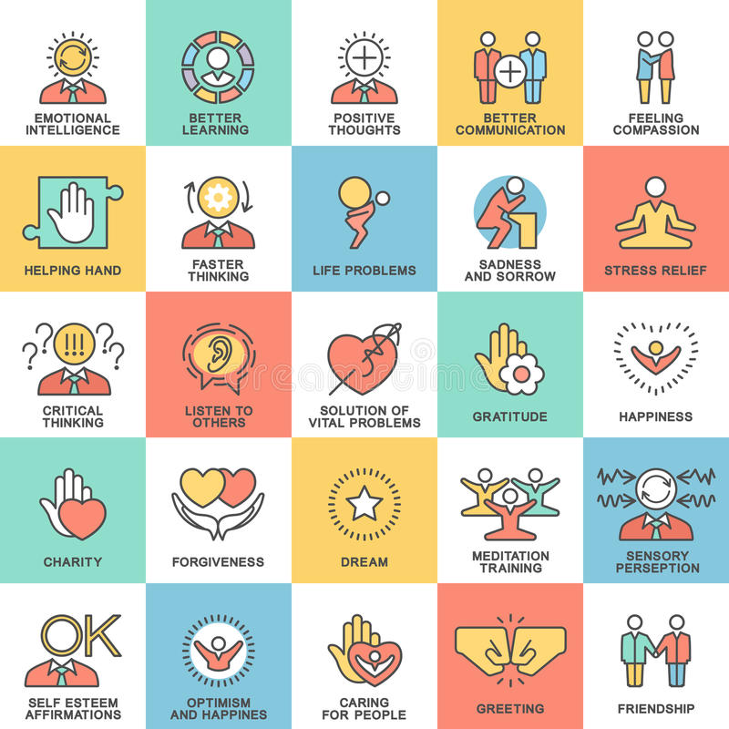 Icons psychological features of human personality. Thoughts, emotions, empathy, assistance and relationships. The thin contour lines with color fills vector illustration