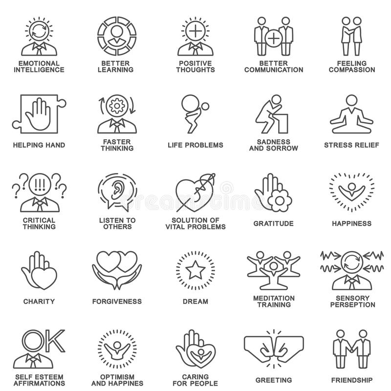 Icons psychological features of human personality. Thoughts, emotions, empathy, assistance and relationships. The thin contour lines stock illustration