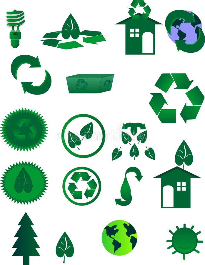 Icons for Recycling in the world stock photography