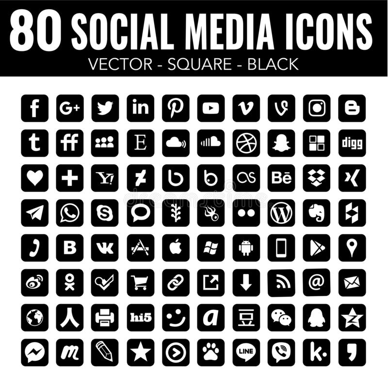 80 Vector Square black Social Media Icons with rounded corners for graphic design and web design vector illustration