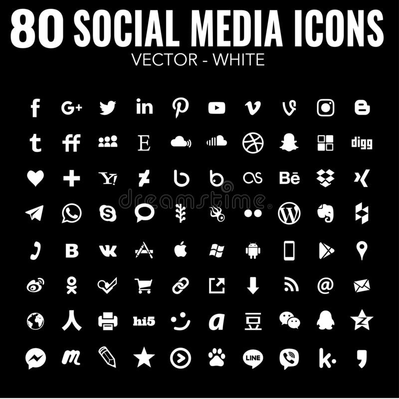 80 flat Vector simple social media icons - white - for web design and graphic design stock illustration