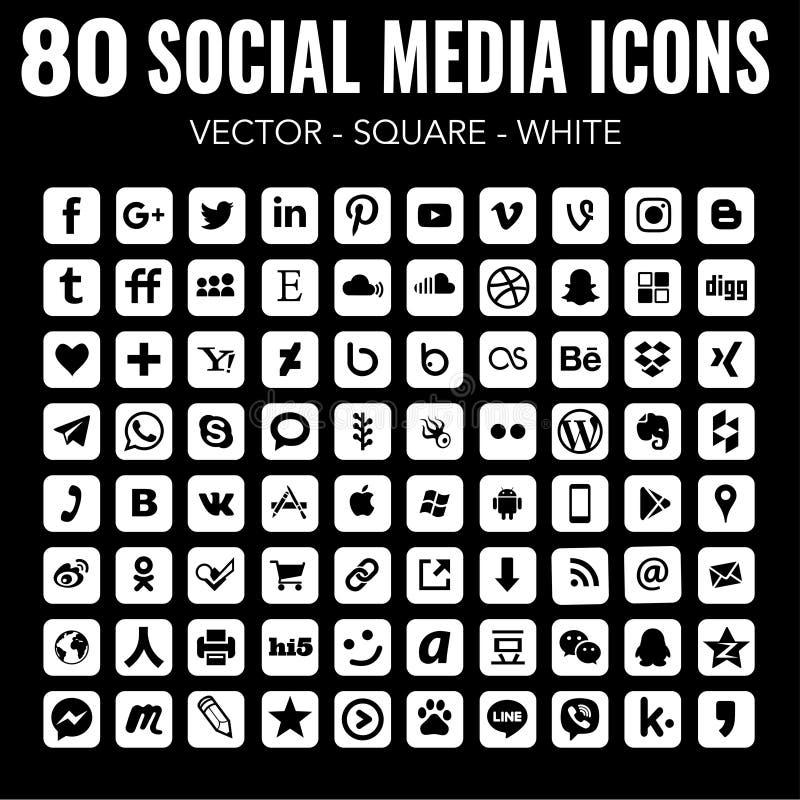 Square social media icons - for web design and graphic design - Vector white stock illustration