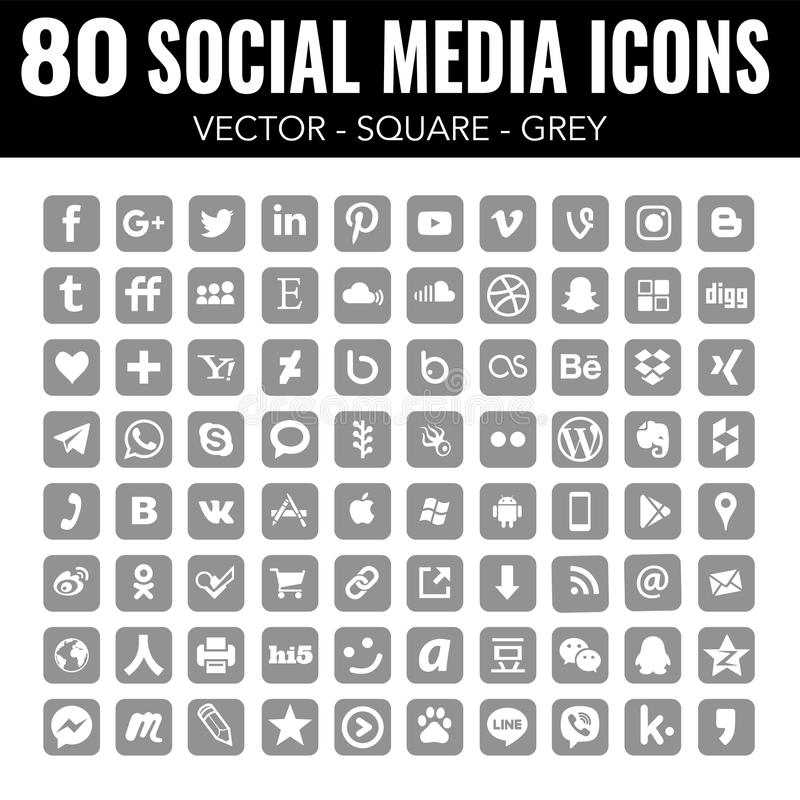 Grey Vector square social media icons - for web design and graphic design. 80 social media icons, grey, elegant, vector, modern, square with rounded corners royalty free illustration
