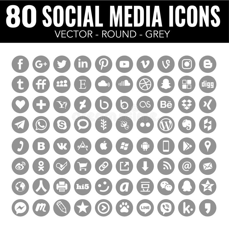 Grey round social media Vector icons - for web design and graphic design. 80 elegant grey round social media icons, carefully designed, elegant and modern. The stock illustration