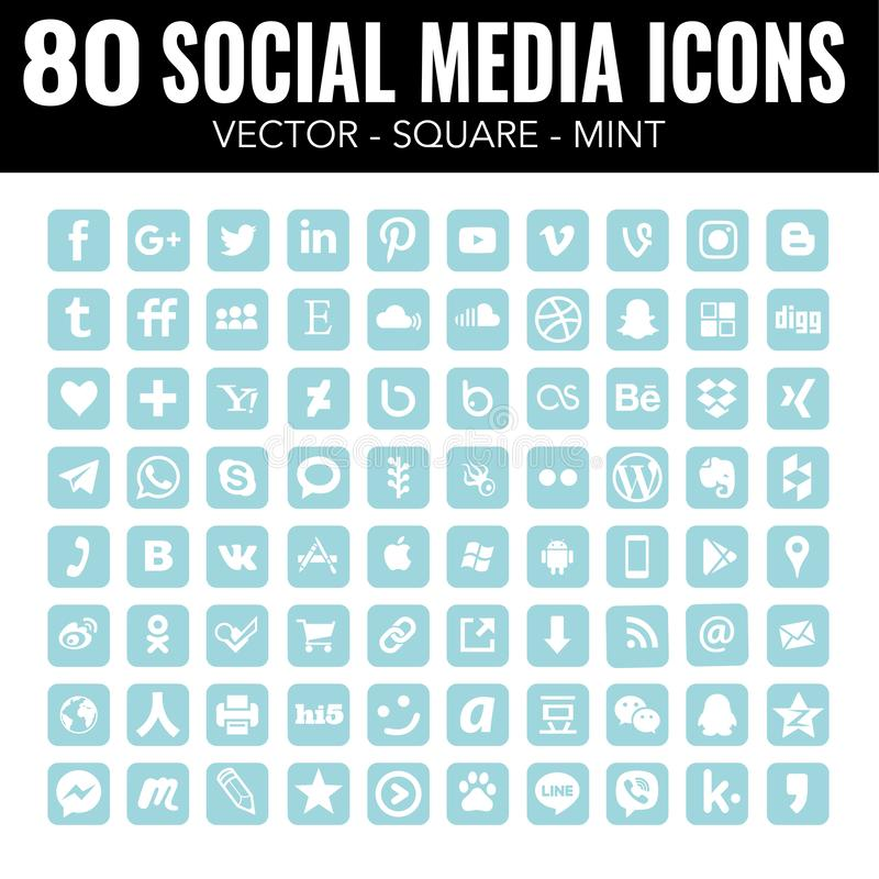 Blue Mint Square social Media Icons Professional set - Vector with rounded corners. 80 square Blue Mint social media icons, Vector iconst with a great elegant royalty free illustration