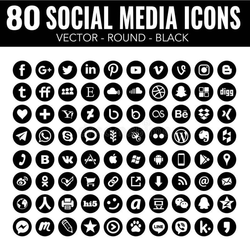Vector Round Social Media Icons - black and white - for web design and graphic design. New 80 round black and white social media icons beautiful design, elegant stock illustration