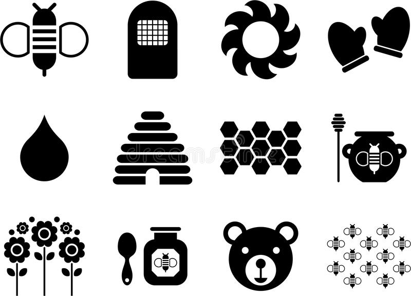Icons related to bees and honey. Some icons related with bees and honey royalty free illustration