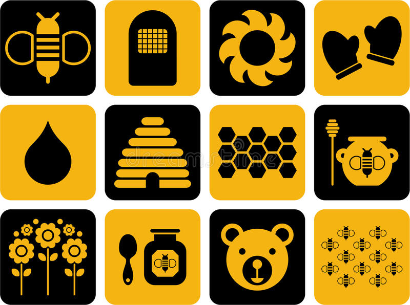 Icons related to bees and honey. Some icons related with bees and honey vector illustration