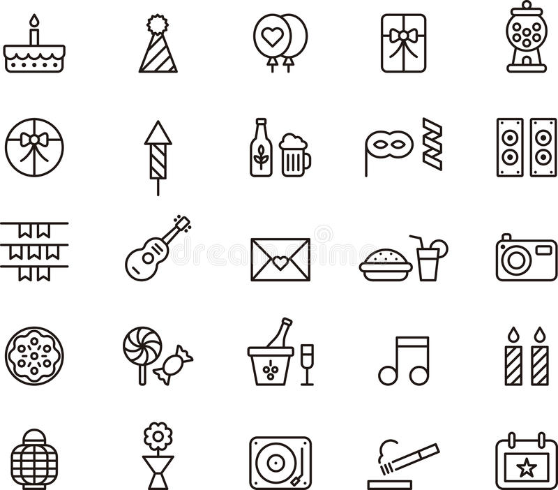 Icons related to Birthday Party. A set or collection of black and white icons or graphics related to birthday party royalty free illustration