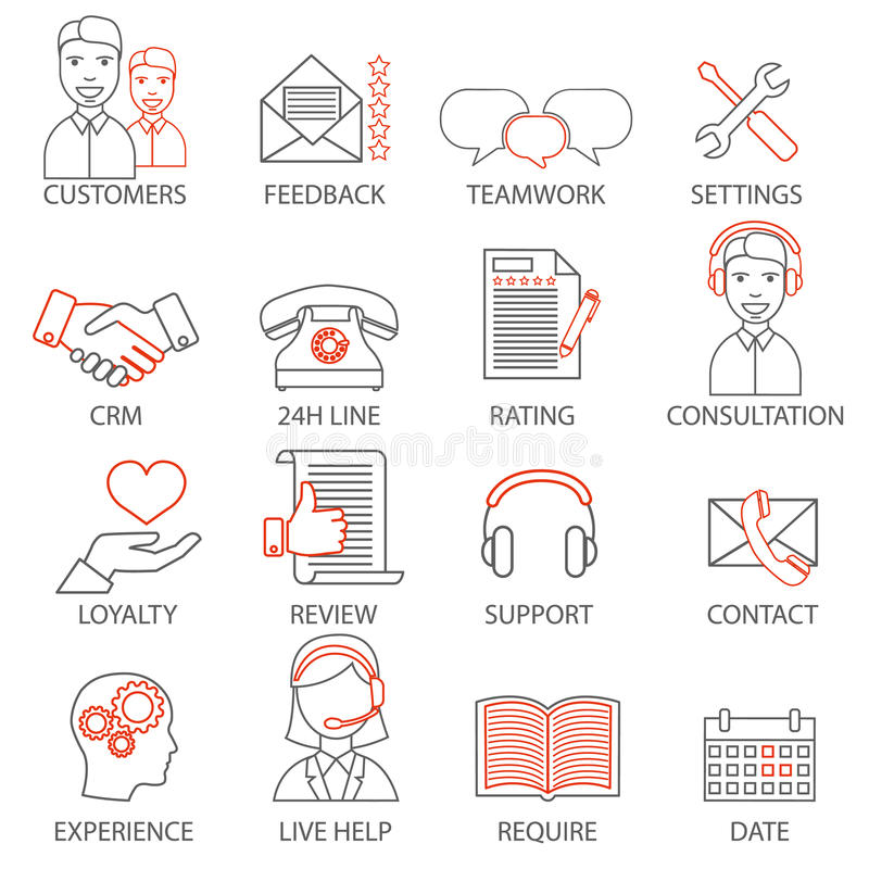 Icons related to support business management, strategy, career progress and business process. Mono line pictograms and infographic stock illustration