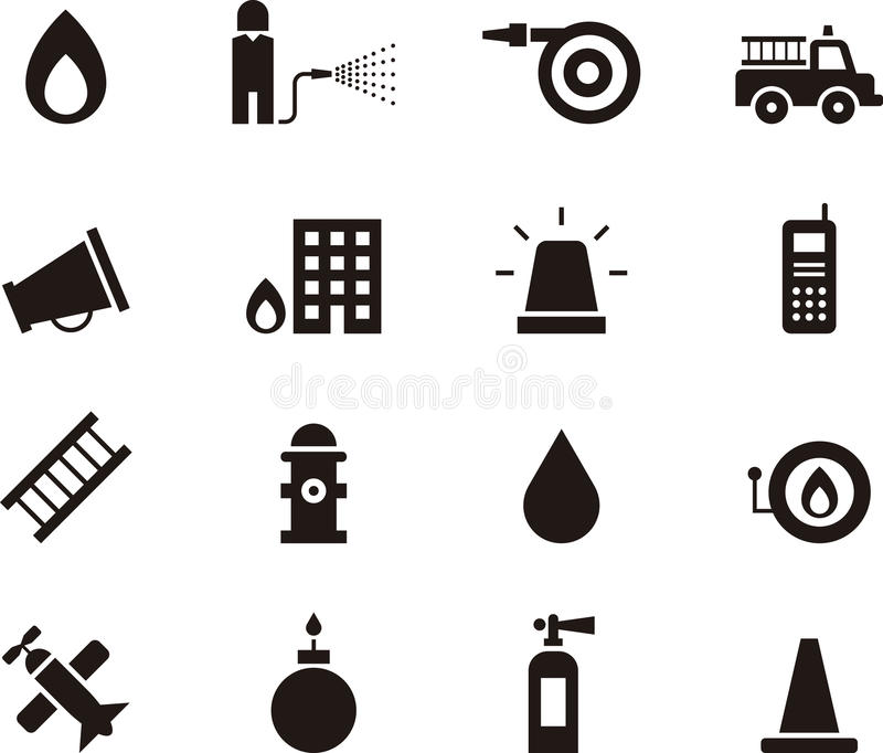 Icons relating to work of firemen. Set of icons illustrating the work of firemen and firefighting, white background vector illustration