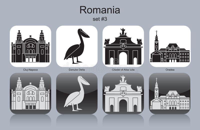 Icons of Romania. Landmarks of Romania. Set of monochrome icons. Editable vector illustration stock illustration