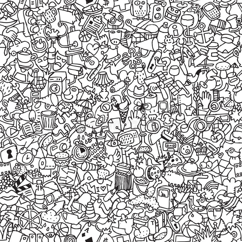 Download Icons Seamless Pattern In Black And White Stock Illustration