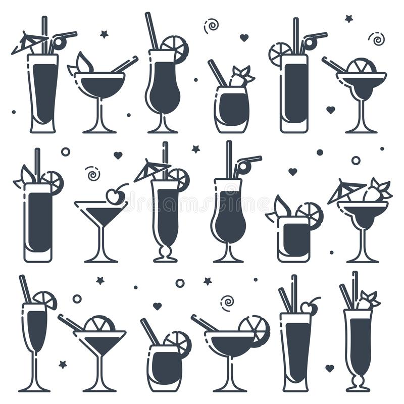 Icons set of alcohol cocktails different types. Suitable for advertising, bar menu decor, application design royalty free illustration