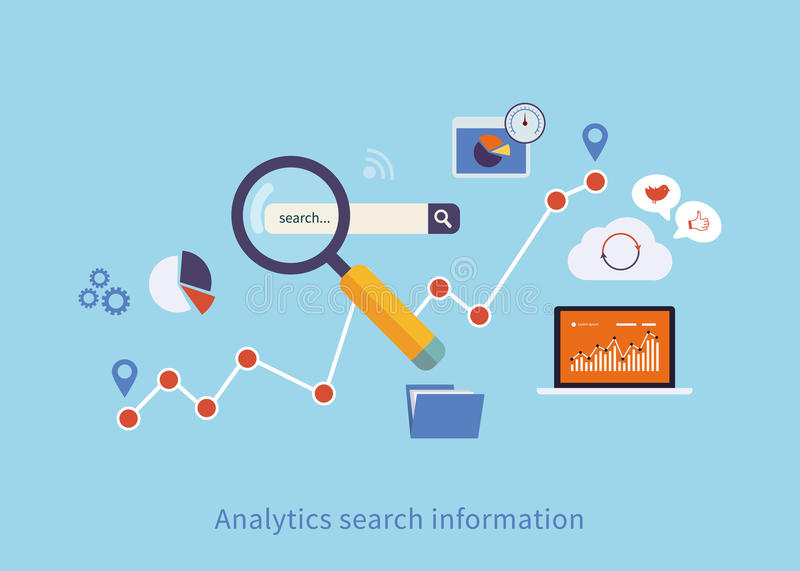 Icons set of analytics search information stock illustration