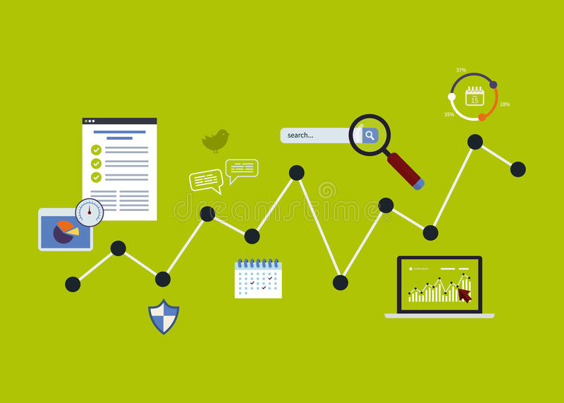 Icons set of analytics search information royalty free illustration