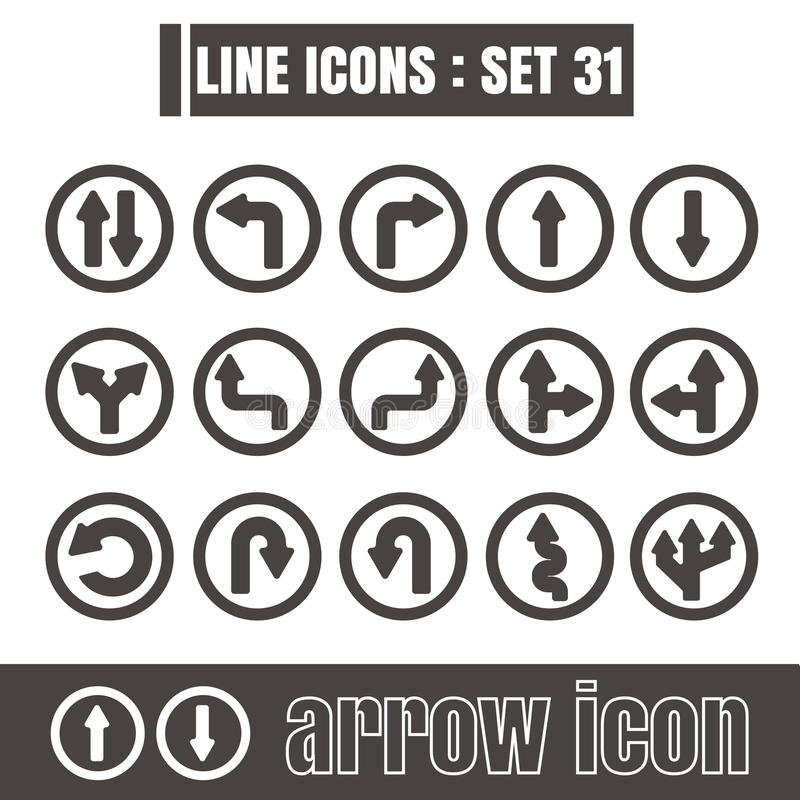 Icons set arrow line black Modern Style design elements Geometry royalty free illustration