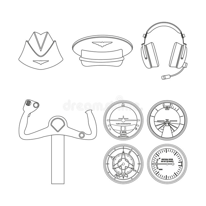 Icons set of aviation. Outline drawing. Aircraft command objects vector illustration