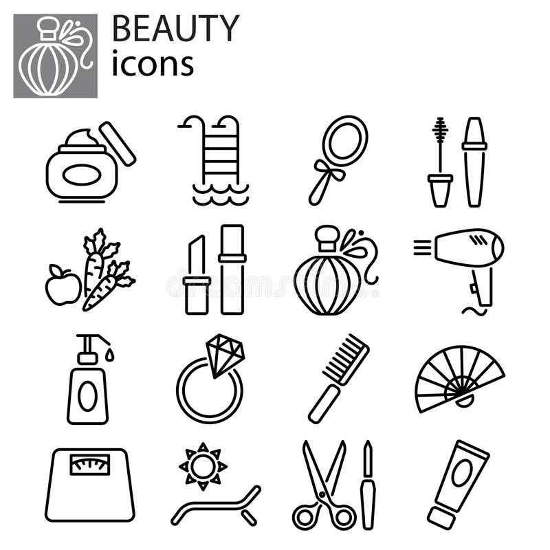 Icons set. Beauty, fashion and makeup vector illustration