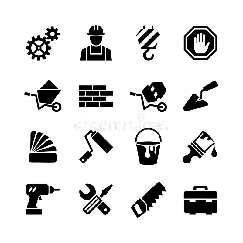 Icons set - building, construction, tools, repair royalty free illustration