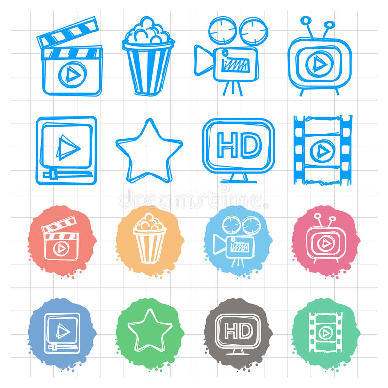 Icons set cinema doodles vector illustration