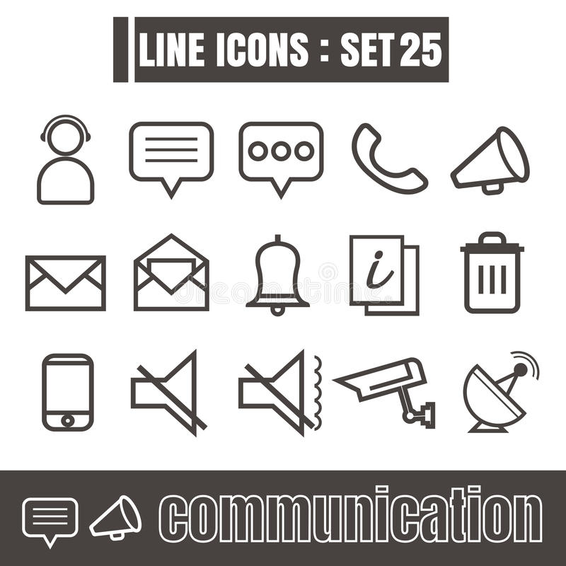 Icons set communication line black Modern Style design elements royalty free illustration
