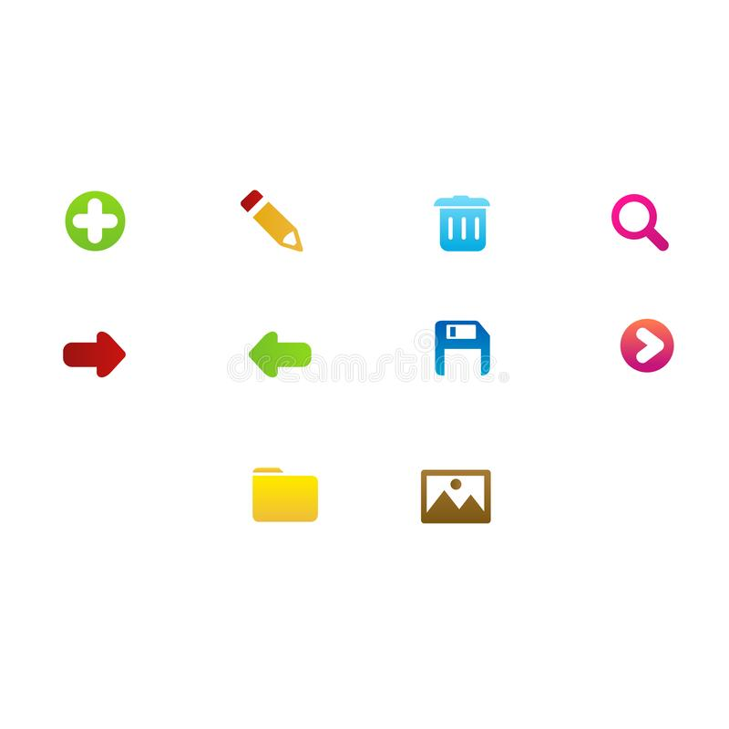 Icons set design for software application royalty free illustration