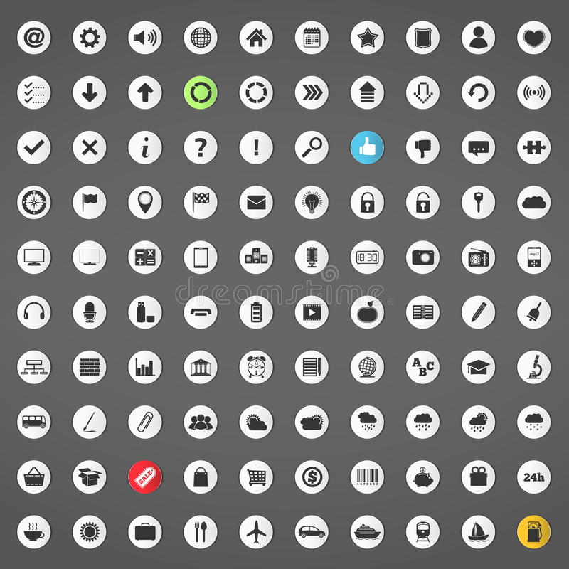 Download 100 Icons stock illustration. Illustration of graph, microphone - 32394702