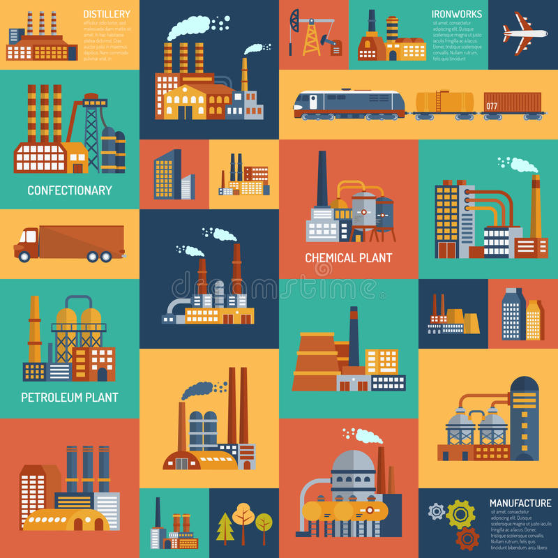 Icons Set With Different Types Of Industrial. Flat color icons set with different types of industrial enterprises and transport modes vector illustration royalty free illustration