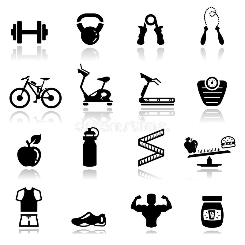 Download Icons set fitness stock vector. Image of black, simple - 20691815