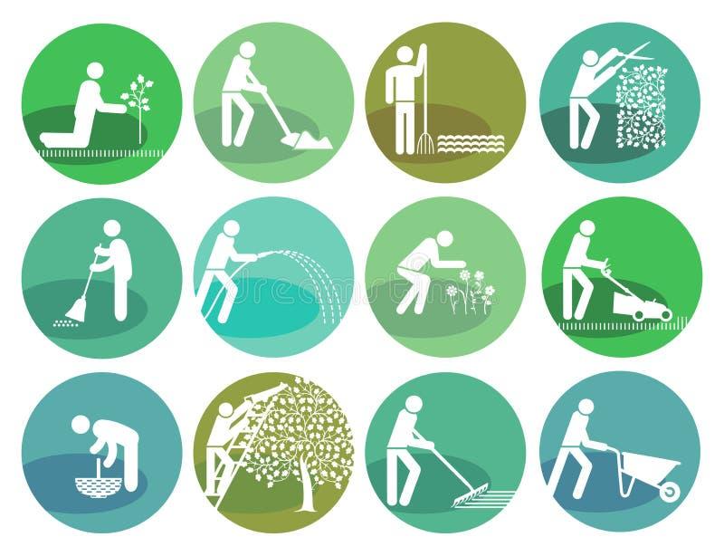 Icons set gardening Object vector illustration