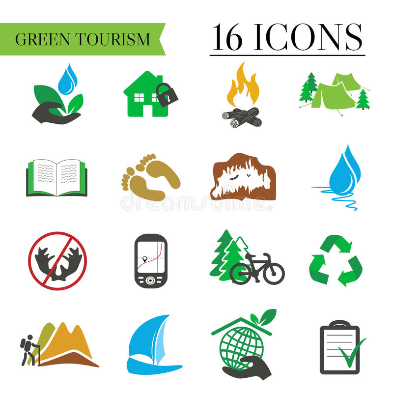 Icons set of green tourism, recreation, outdoor and camping vector illustration