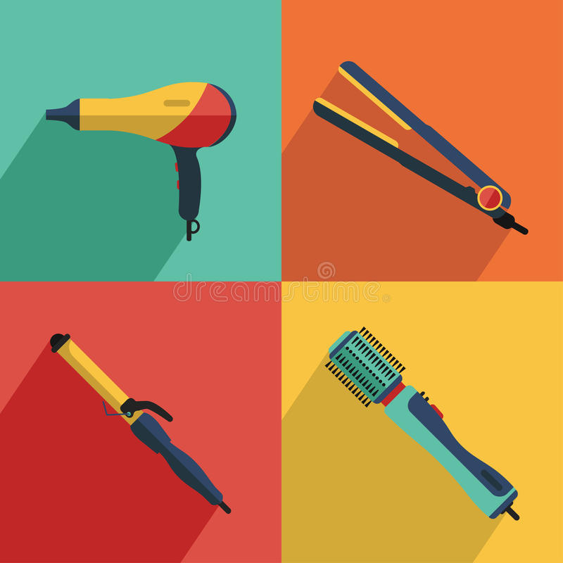 Icons set of hair styling tools icons royalty free illustration