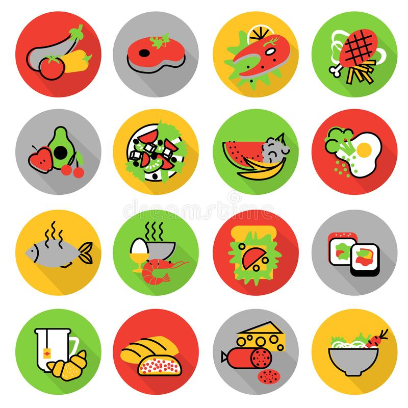 Icons set of homemade food and restaurant meals stock illustration