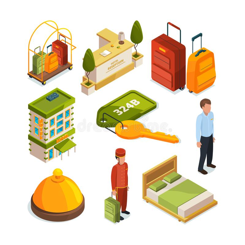 Icons set of hotel services. Isometric illustrations of reception tables. Lounge room. Vector hotel service reception royalty free illustration