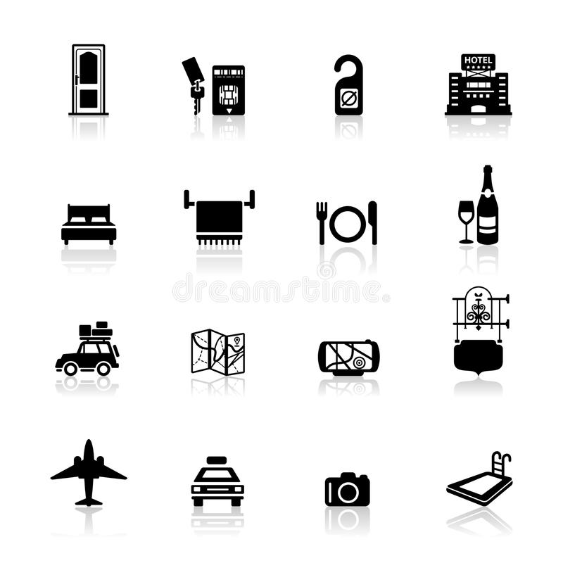 Download Icons set Hotel and travel stock vector. Image of sign - 19518700