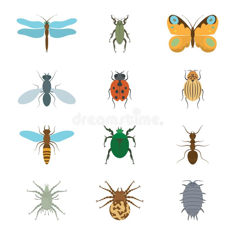Icons set insects flat - dragonfly, beetle, butterfly, fly, ladybug, koroladsky beetle, wasp, bronzovik ant, tick, a spider, wood stock illustration