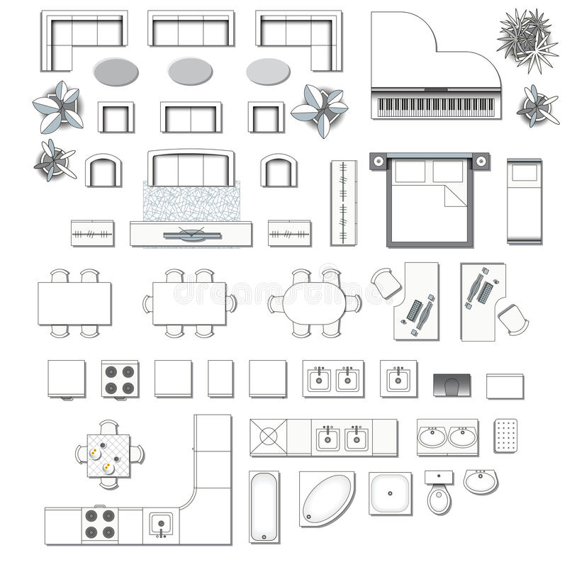 Black White Interior Design Furniture For Floor Plan ~ Icons set of interior stock vector illustration desk